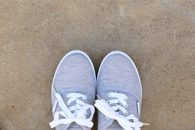 Pair of grey shoes outdoors