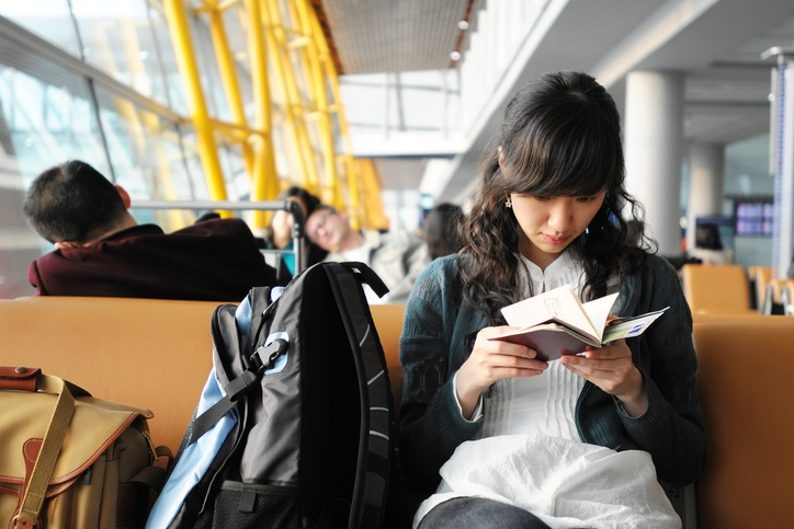 A female passenger waiting in airport