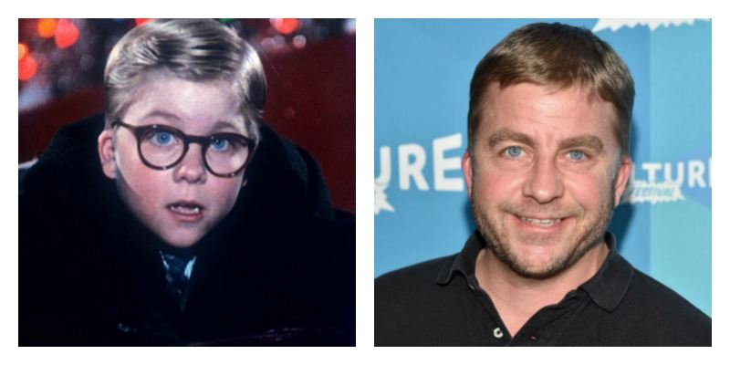 On the left is Petter Billingsley wearing glasses and holding on to a slide. On the right is an adult Peter Billgsley smiling on the red carpet.