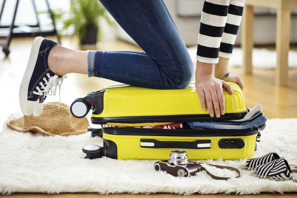 Preparation travel suitcase at home