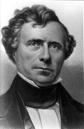 A black and white illustration of President Franklin Pierce.
