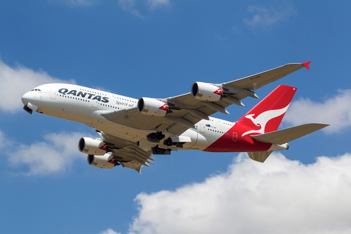 Qantas Airbus A380 VH-OQF Taking off