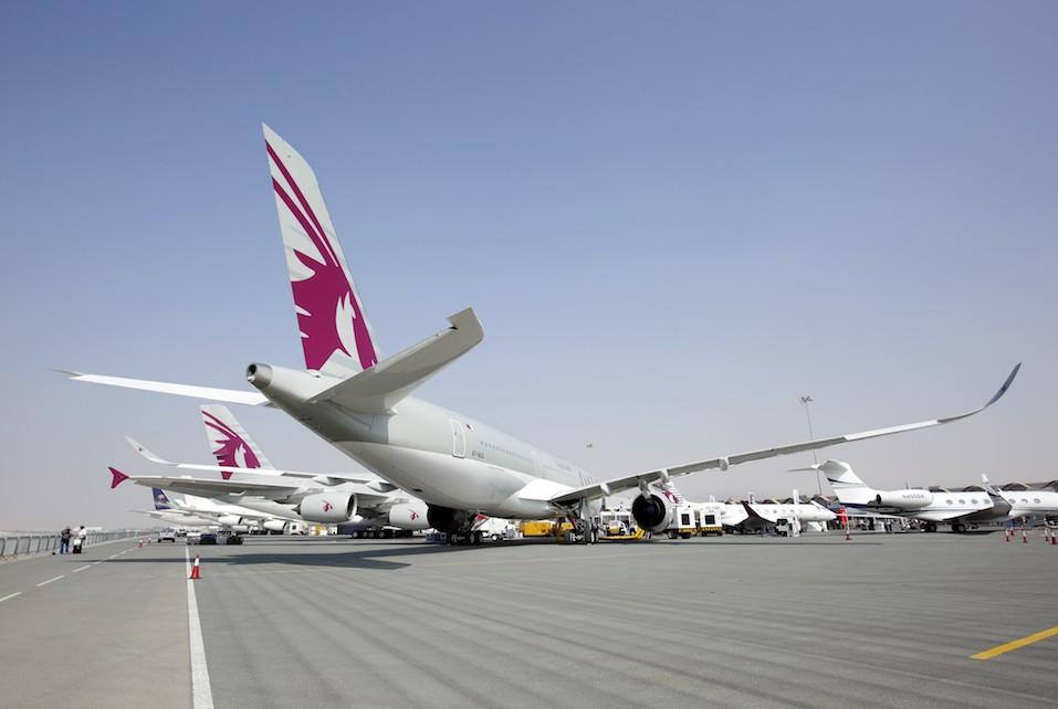 Qatar A350 Airbus in Bahrain International Airshow