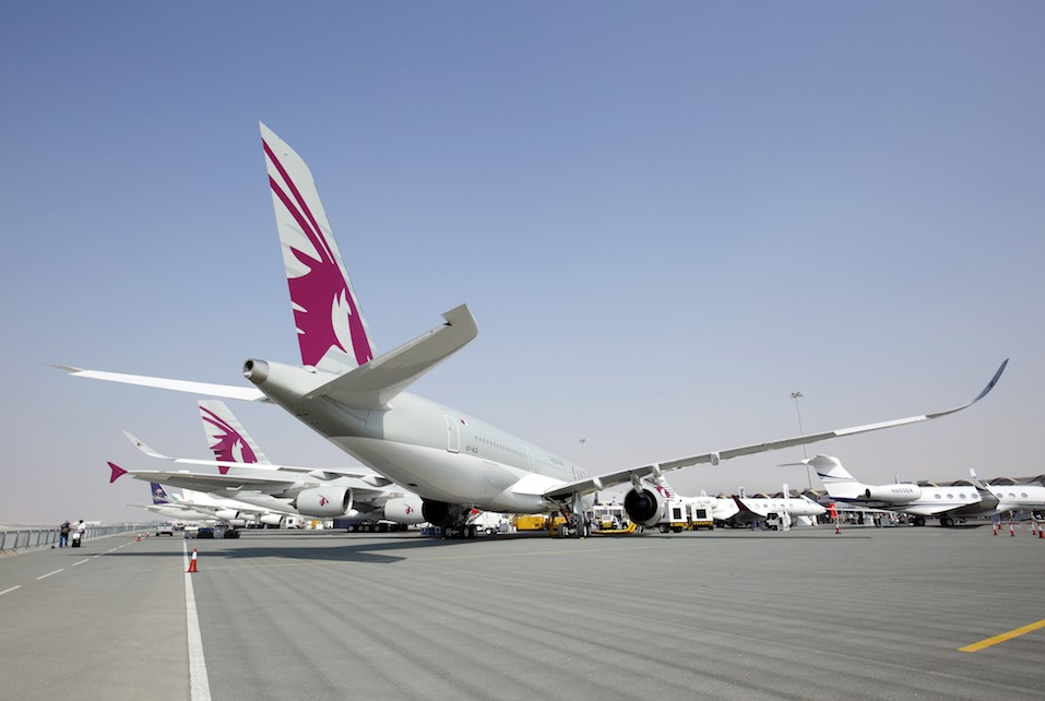 Qatar A350 Airbus in Bahrain International Airshow