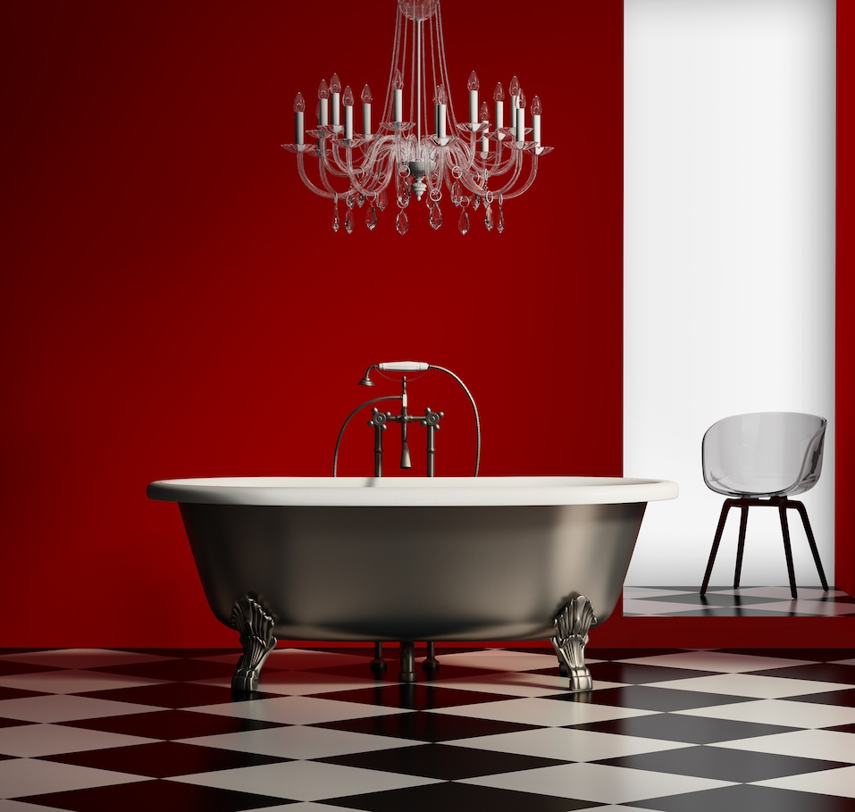 Red baroque classic bathtub