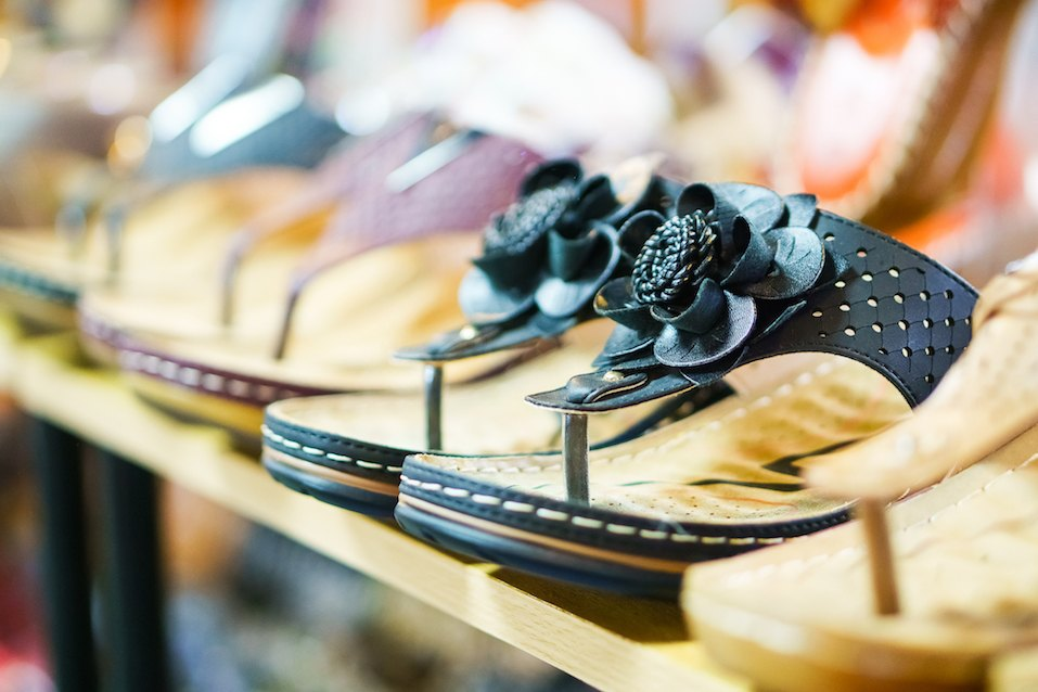 Row of sandals in a footwear shop