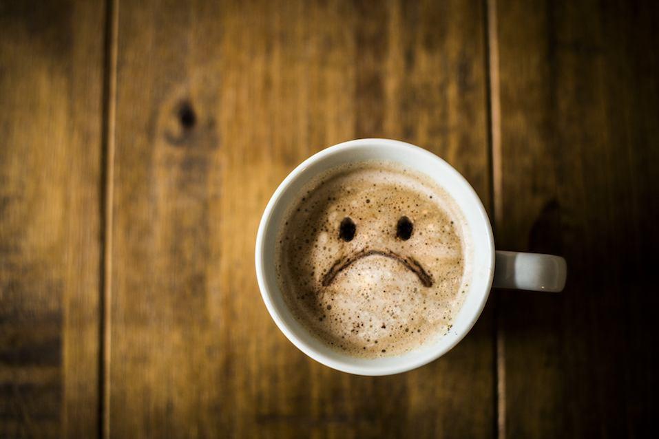 A sad looking Coffee Cup
