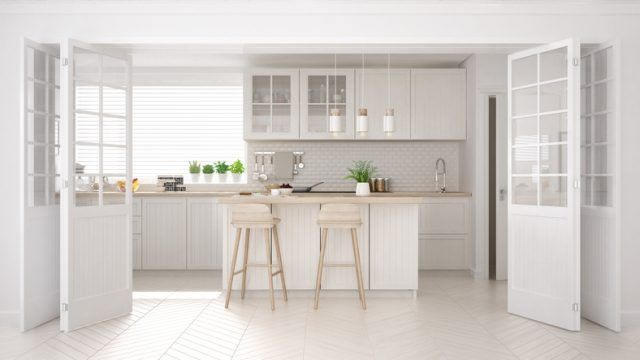 Scandinavian classic kitchen with wooden and white details