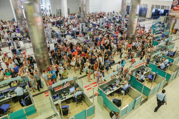 Security and passport control at airport
