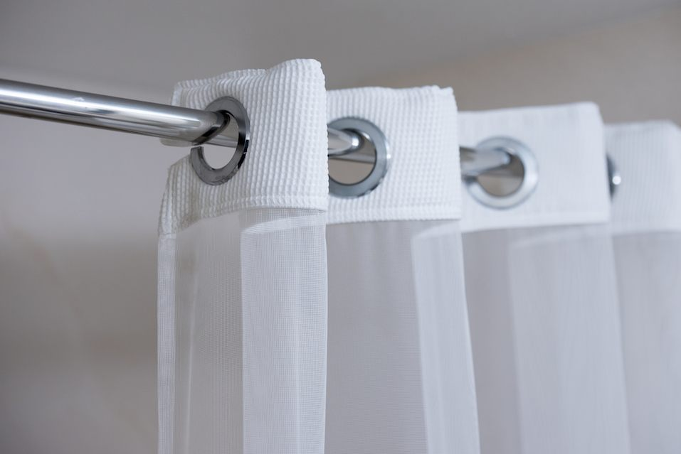 Shower curtain on shower curtain rod