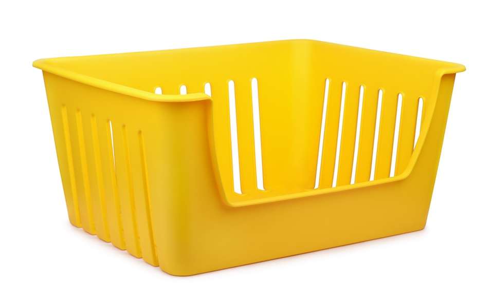 Yellow empty plastic storage container