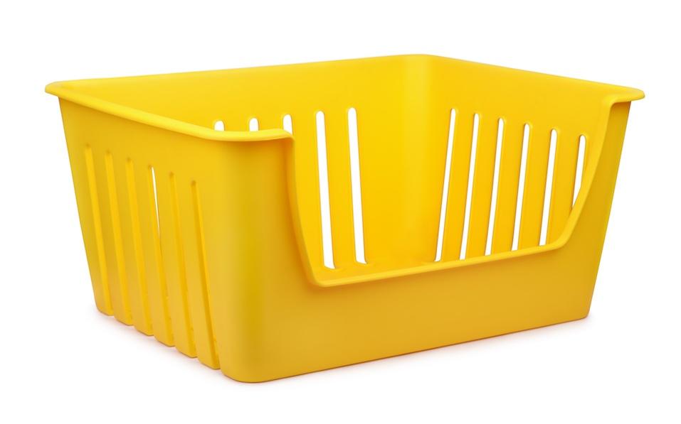Yellow empty plastic storage container
