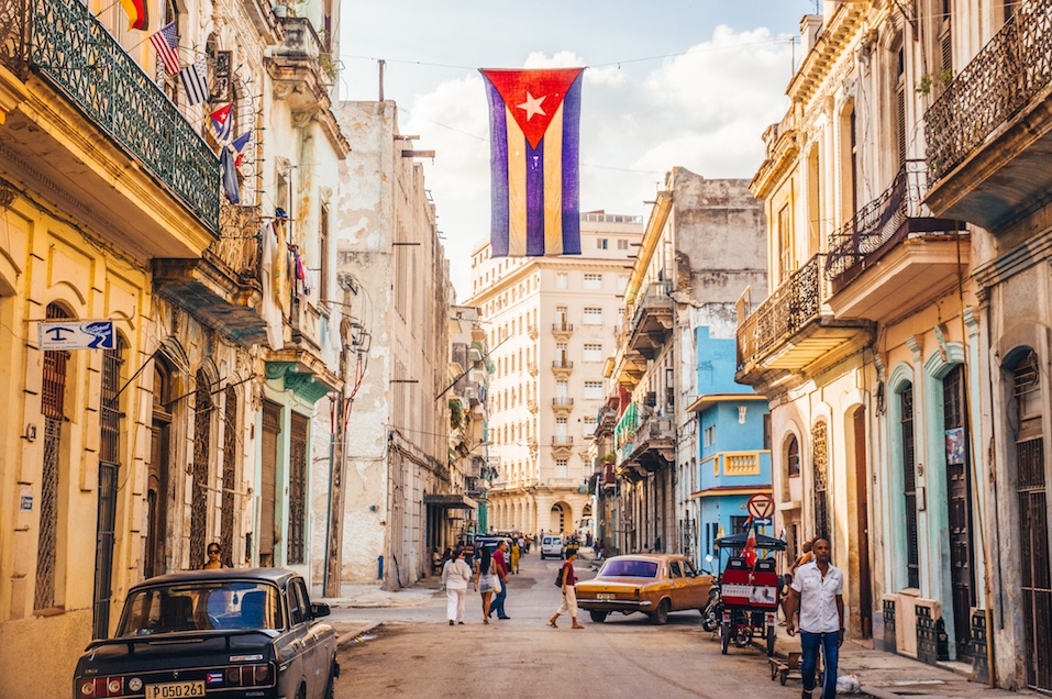 Street with Cuban flag in Havana