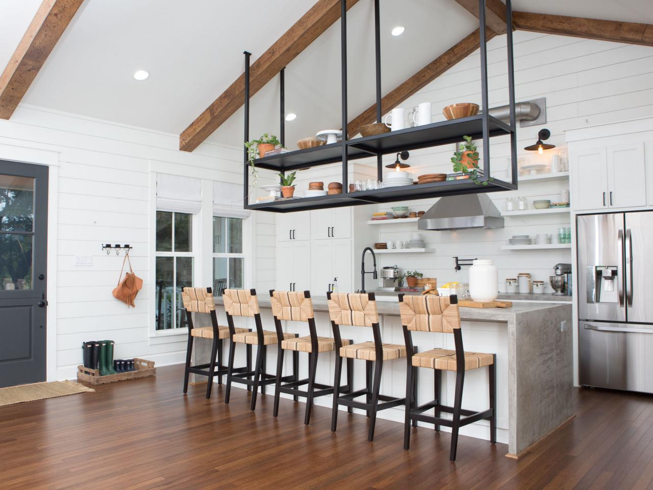 Suspended shelves in a home on HGTV's 'Fixer Upper'