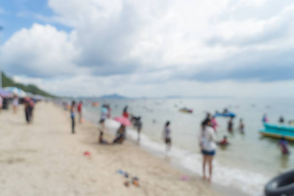 Thailand Busy Beach side blurred for background.