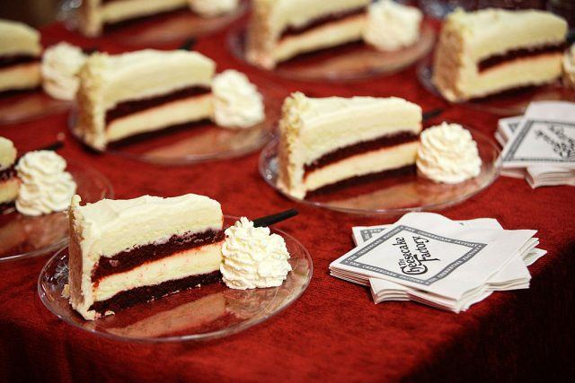 Pieces of cheesecake for guests from The Cheesecake Factory