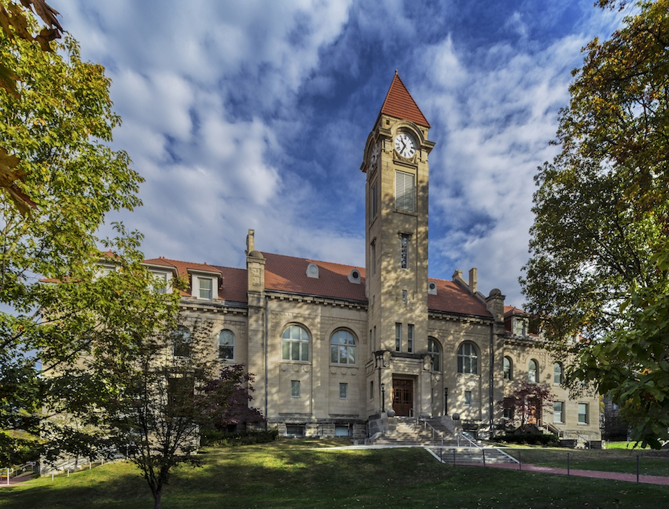 Student Building and Clock Tower on the Indiana University Campus