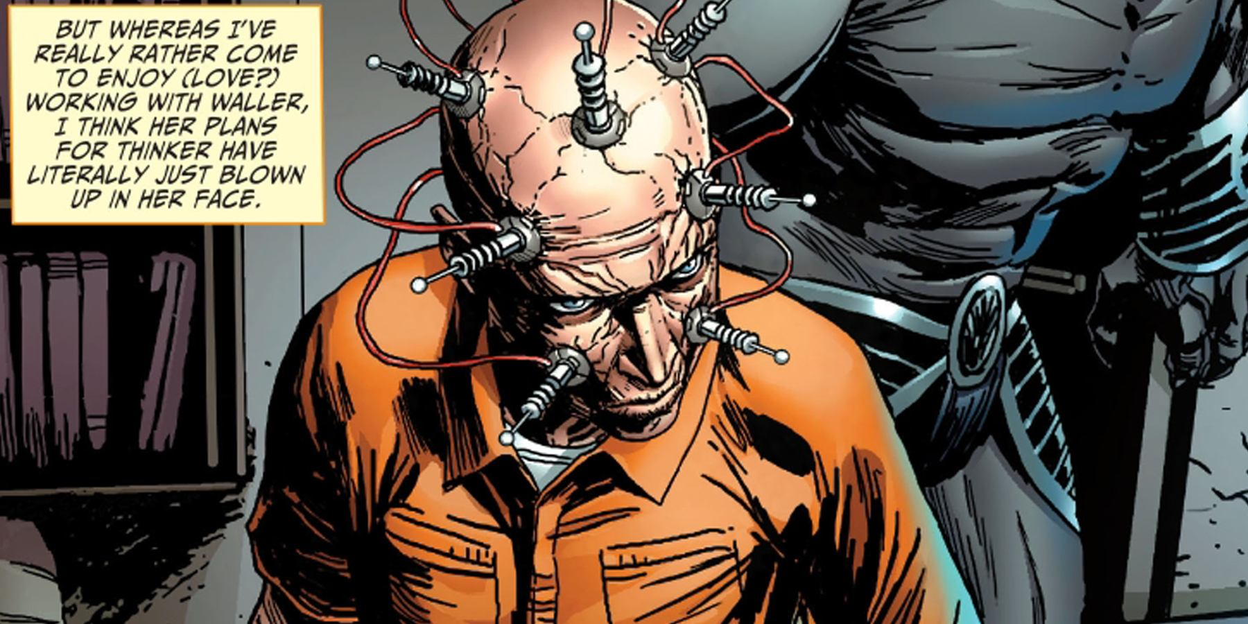 A comic book scene of a man in an orange prison suit with wires attached to his brain