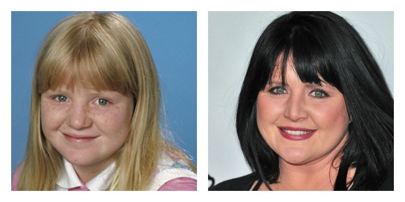 On the left is a young and blonde Tina Yothers. On the right is an older black-haired Tina Yothers.