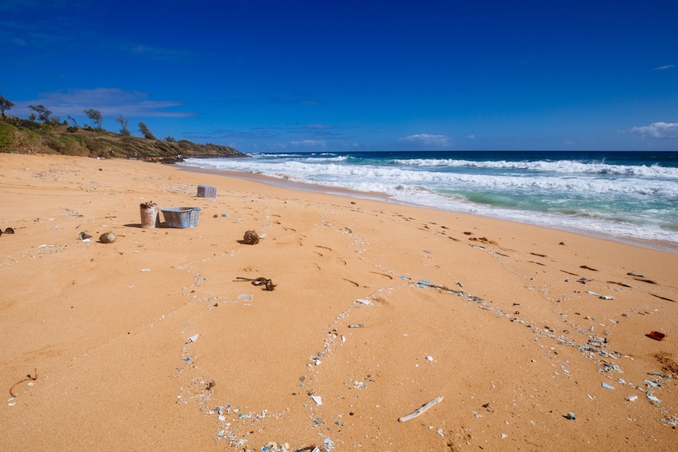 garbage strewn beach on Kauai