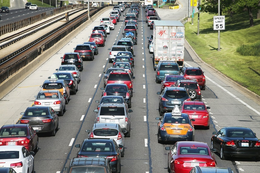 Traffic jams up on the Kennedy Expressway