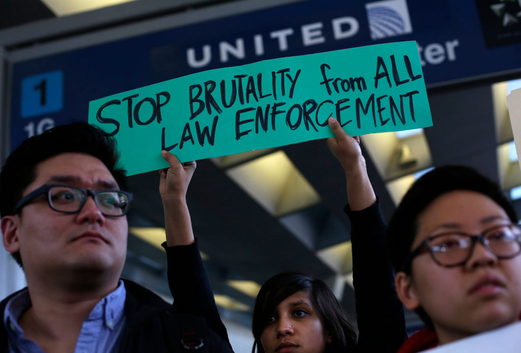 Demonstrators protest United Airlines at O'Hare International Airport