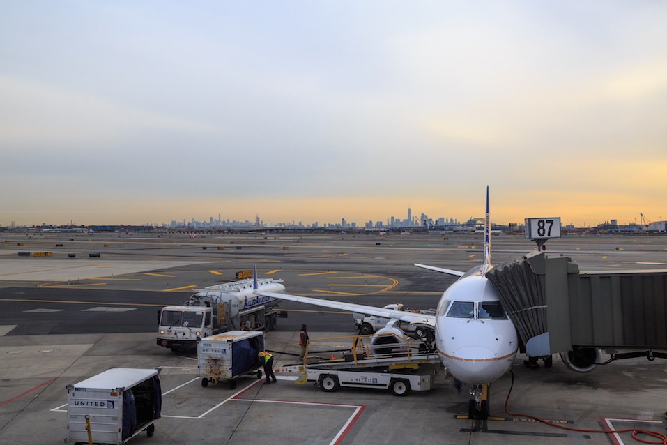 United airlines airplane in the newark airport