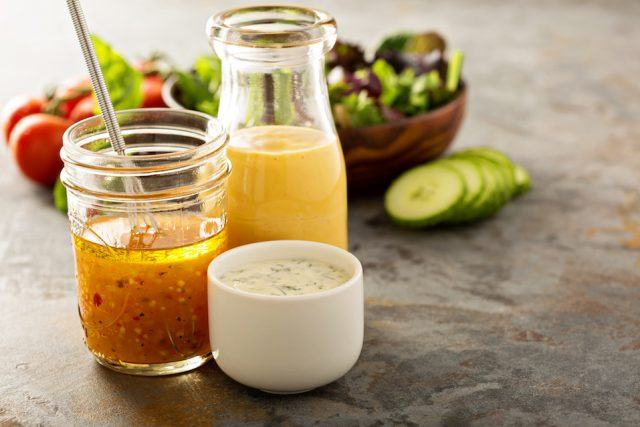 Variety of sauces and salad dressings.