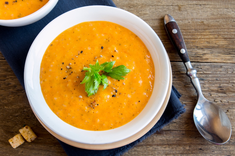 Vegetable tomato and carrot soup with spices