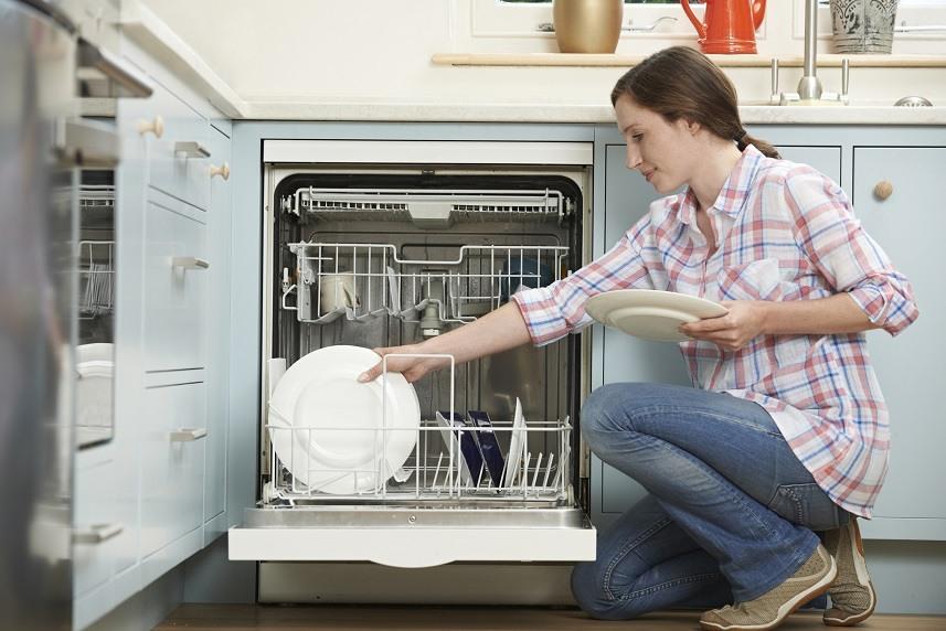 Woman Loading Dishwashwasher