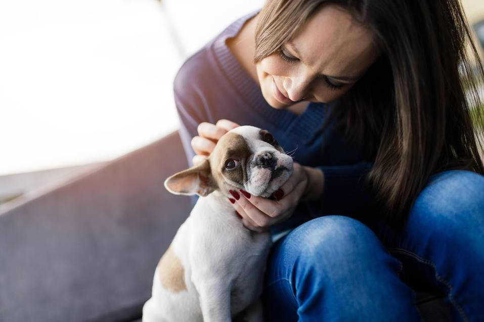 Woman and French bulldog outdoors