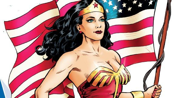 Wonder Woman holds the American Flag