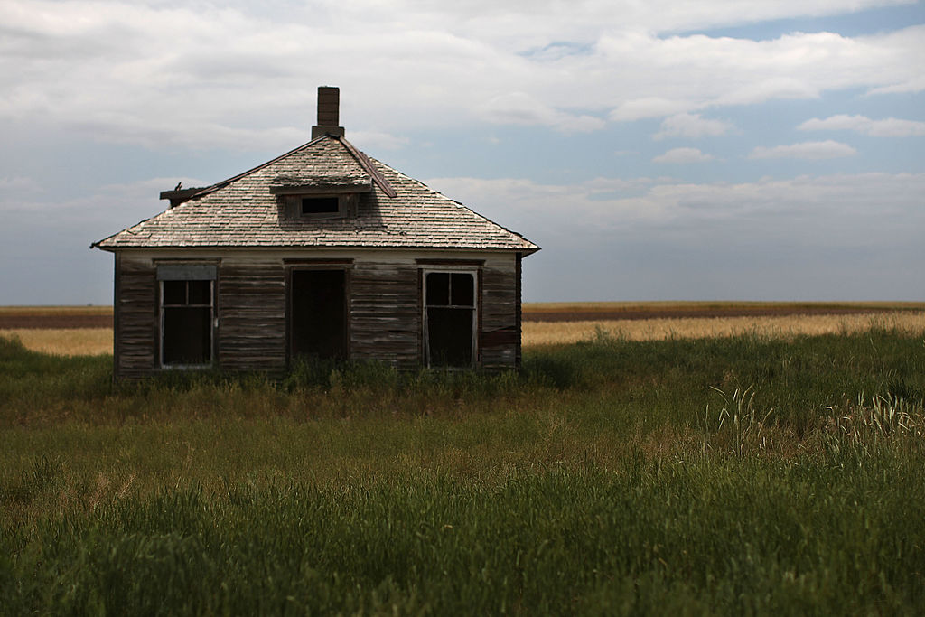 The remains of an abandoned home on an isolated stretch of land in Cheyenne, Wyoming
