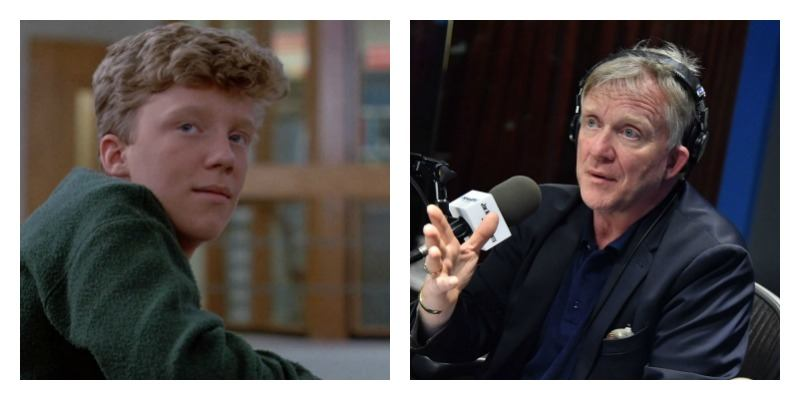On the left is a young Anthony Michael Hall looking over his shoulder in The Breakfast Club. On the right is Anthony Michael Hall holding a microphone.