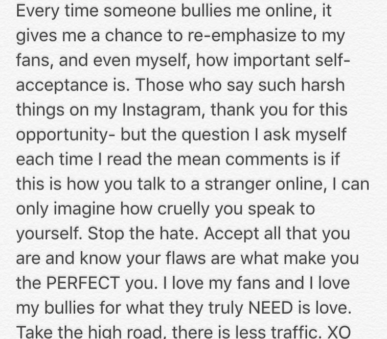 A screen grab of Ariel Winter's anti-bullying message on Instagram