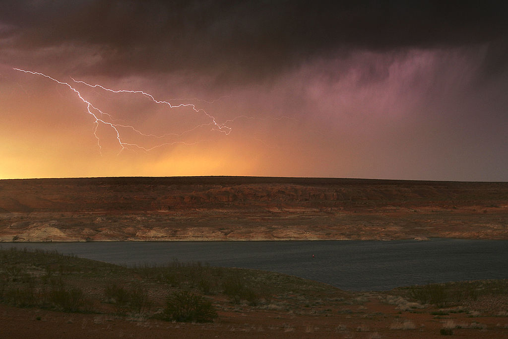 Lightning strikes the Arizona landscape