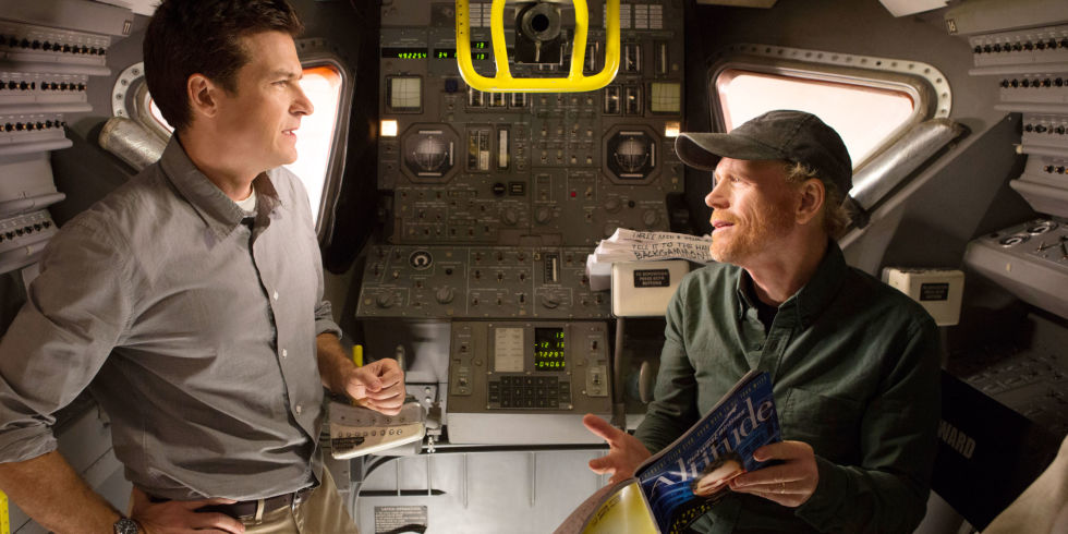 Jason Bateman and Ron Howard inside a model spacecraft