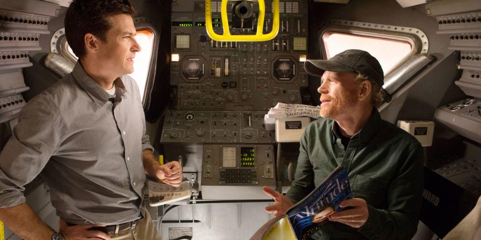 Jason Bateman and Ron Howard inside a model spacecraft