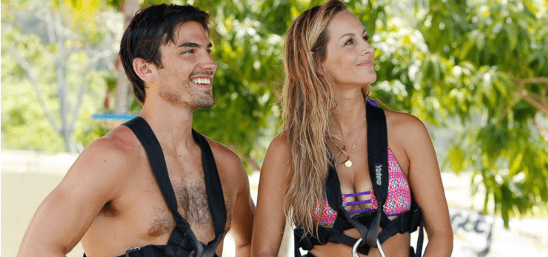 Clare Crawley and Jared Haibon are in swimsuits and belt equipment.