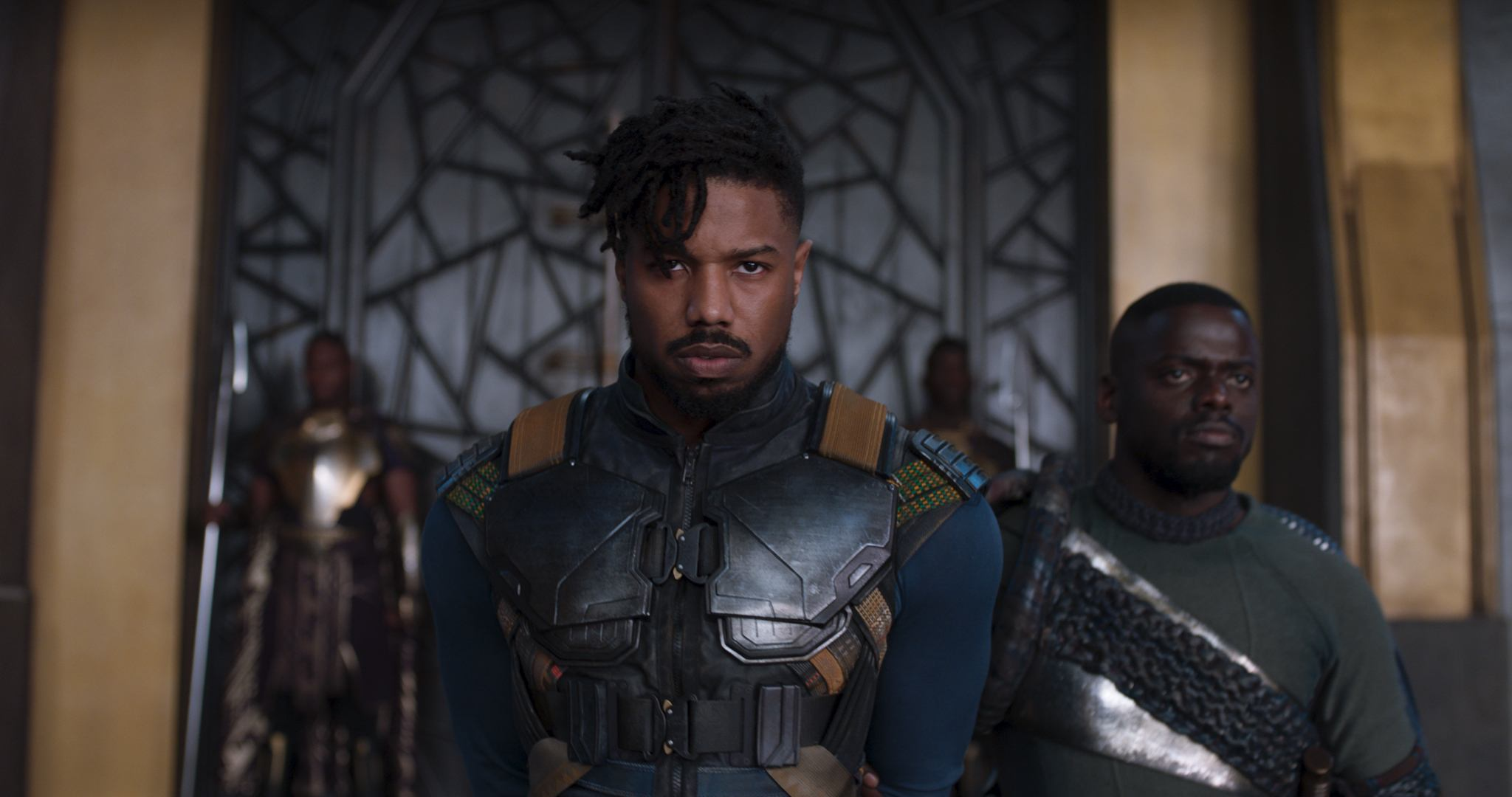 Michael B. Jordan's Killmonger wears an armored vest in Black Panther