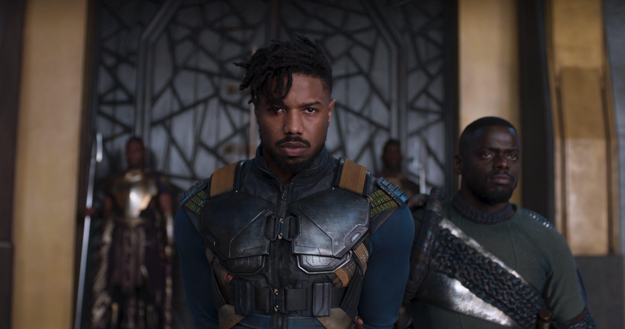 Michael B. Jordan's Killmonger wears an armored vest in Black Panther