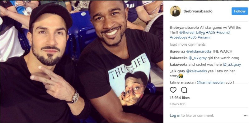 Bryan Abasolo and Will Gaskins take a selfie together in the seats of a baseball game.