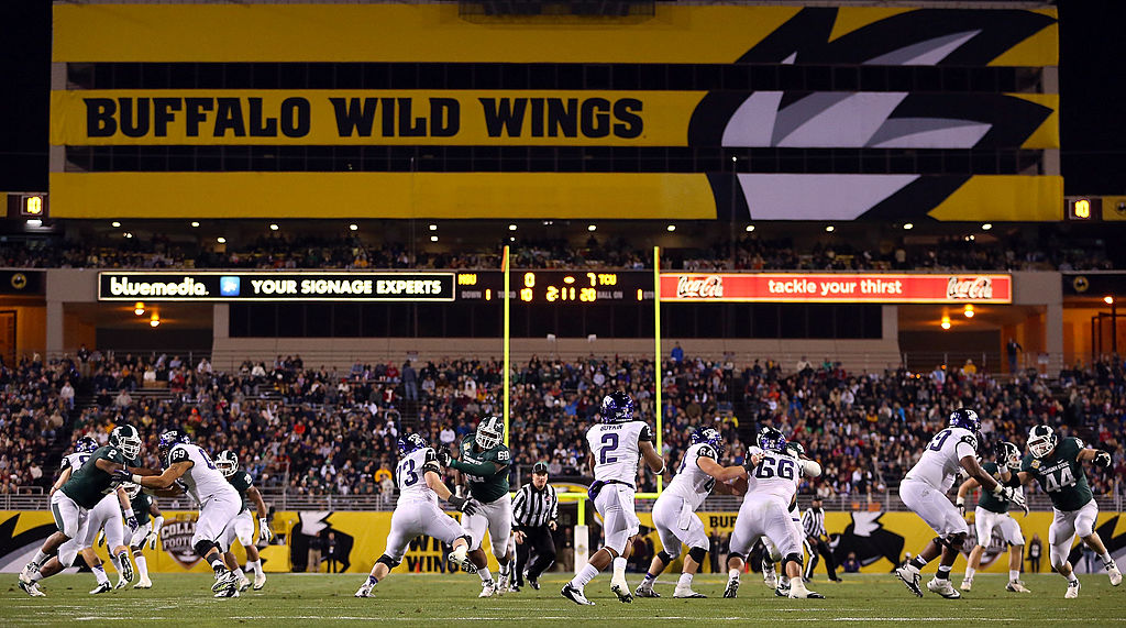 The Buffalo Wild Wings Bowl hosts the TCU Horned Frogs and Michigan State Spartans in 2012.