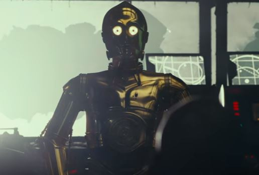 C-3PO stands in a ship