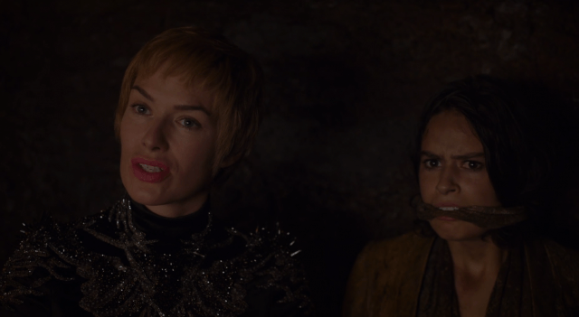 Cersei stands next to a gagged Tyene Sand in 'The Queen's Revenge.'
