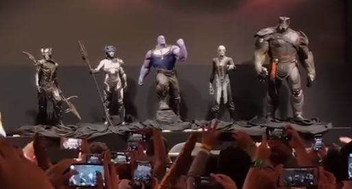The Children of Thanos are unveiled at Comic-Con while the audience takes pictures