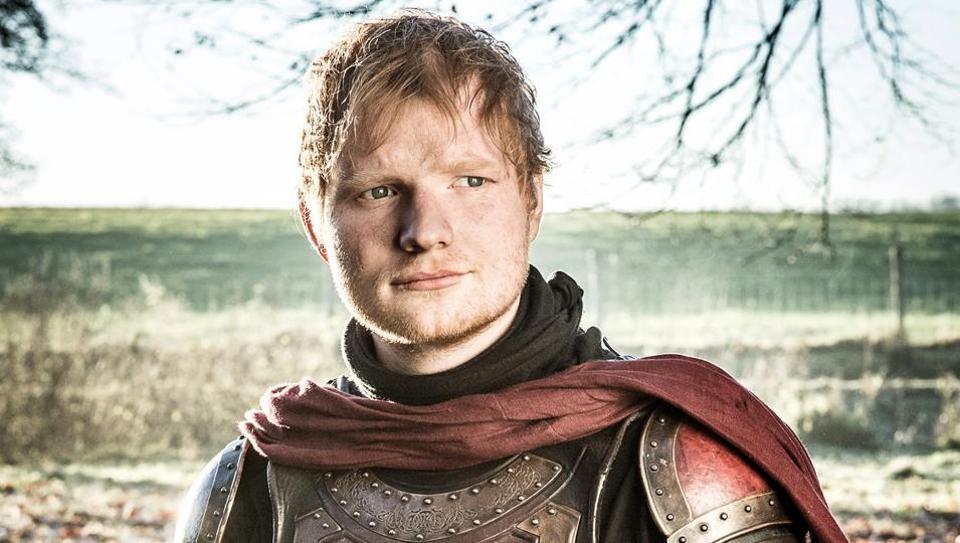 Ed Sheeran wears armor in Game of Thrones.