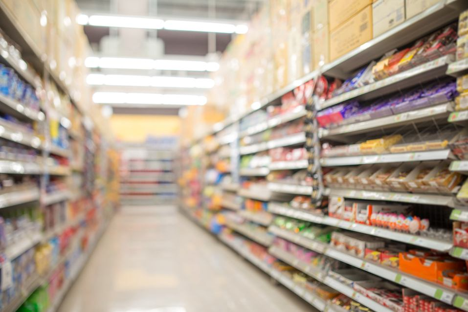 defocused of shelf in supermarket
