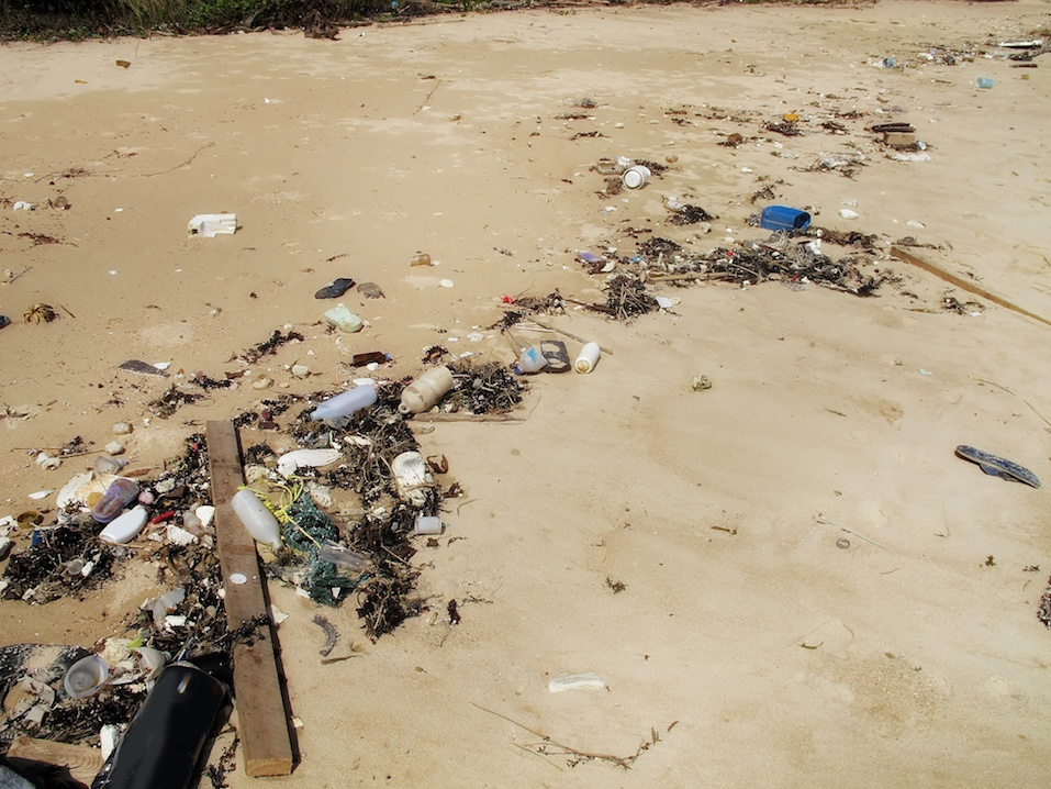 trash and pollution on sandy beach