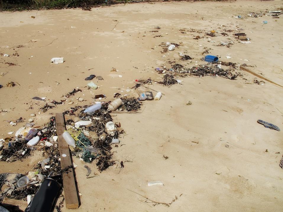 trash and pollution on sandy beach